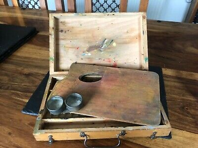 Rare Antique Wooden Artists Paintbox By Gunther Wagner Of Hanover