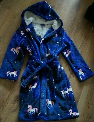 Girls BLUEZOO at DEBENHAMS Unicorn Dressing Gown Robe with Hood Age 9-10 YRS NEW