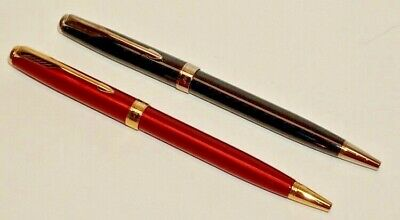 """2 PARKER """"Sonnet Refresh"""" BALLPOINT PENS-BLACK AND RED LACQUER GOLD /CHROME TRIM"""