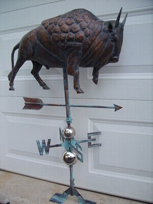 3D Bison Buffalo Weathervane Handcrafted Functional Weather Vane Copper Finish