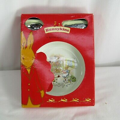 Royal Doulton Bunnykins Nursery Set Metal Soldier Spoon Bowl Bed Time Story