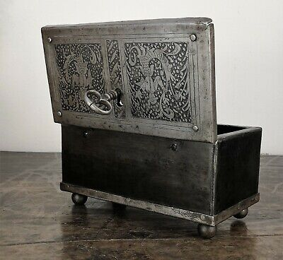 18th Century Wrought Iron Antique Safe,  Strongbox, armada Chest, iron casket