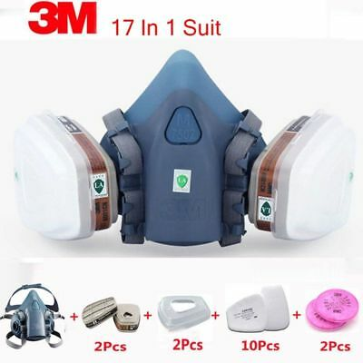 3M 7502 Respirator Mask 17 in 1 Suit Industry Painting Spray Dust Gas Mask
