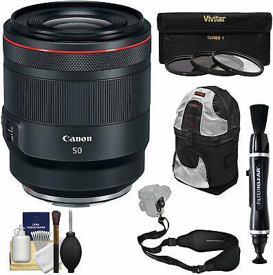 Canon RF 50mm f/1.2 L USM Lens with 3 UV/CPL/ND8 Filters + Backpack + Strap + Ki