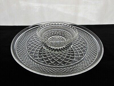 """Anchor Hocking Glass Clear Wexford 12"""" Chip & Dip Platter and Bowl"""