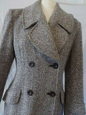 Vintage Laura Ashley Brown  Herringbone Tweed  Full Lentgh Wintecoat Maxi  Uk 12