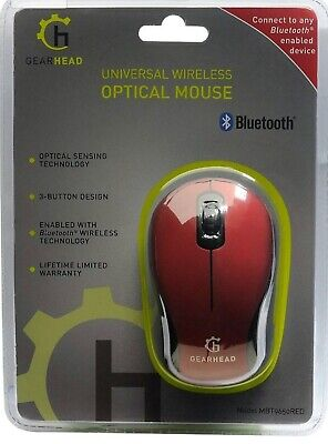 Gear Head Bluetooth Wireless Optical Mouse 30 ft range! 1600 DPI! 3000 fps! NEW!