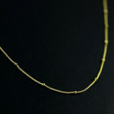 GENUINE Gold Over 925 Sterling Silver Bead Curb Chain Choker Necklace UK New