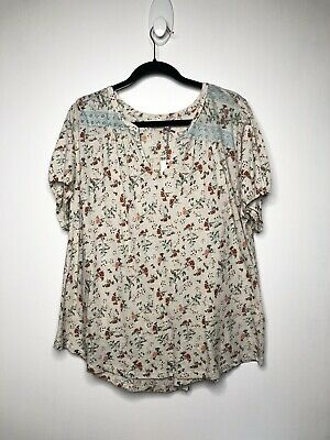 Lucky  White w//Floral stch  Cttn 3//4 Sleeve Tunic Top V-Neck  Wm/'s  M 69.50 NWT