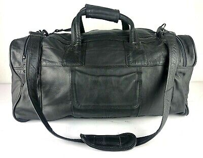 Leather Duffle Bag Talon Zippers Black Weekend Travel Duffel Mexico Gym Bag NICE