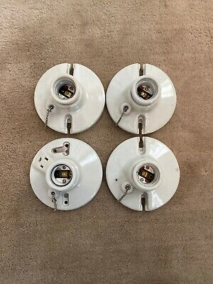 Vintage Set Of 4 Porcelain Round White Light Fixture With On/off Pull Chains