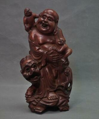 Semi Antique Chinese Rosewood Sculpture Laughing Buddha Budai Hotei On  Foo Dog