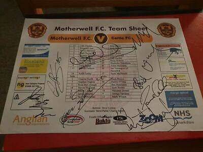 Multi Signed Celtic Teamsheet Away To Motherwell Nakamura