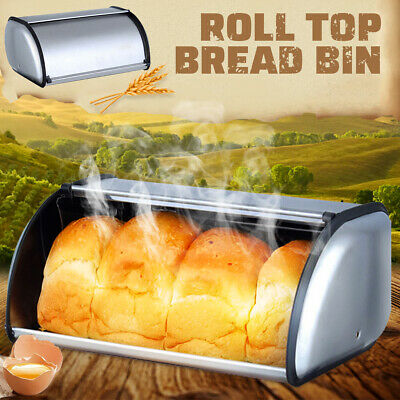 Bread Box Metal Bin Home Kitchen Container Cake Keeper Food Storage Roll Top Lid
