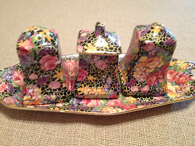 Vintage Royal Winton HAZEL Chintz Cruet Set & Tray