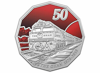 2019 50c - 90th Anniversary Of The Ghan - Coloured Uncirculated Coin In Card
