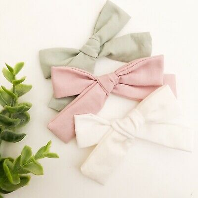 3 X Bow Hair Clip Pack Pink Green White Set Baby Girl Toddler Fabric Linen