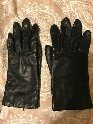Fownes Womens Size Large Black Leather Gloves Polyester Lining