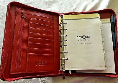 Red Franklin Covey Day One Planner Zipper Retractable Handles