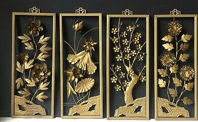 4 RARE Vintage FLORAL Flowers Antique BRASS Framed ART DECOR Wall Mid Century