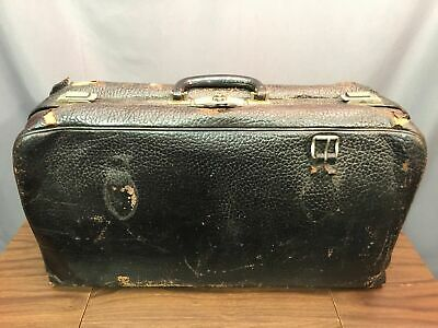 Antique Leather Luggage Bag Large Doctors Case Made In USA