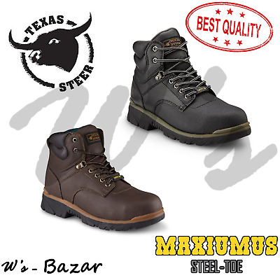 Mens Texas Steer Work Boots Steel-Toe Maximus Safety Shoes Slip Resistant Boot