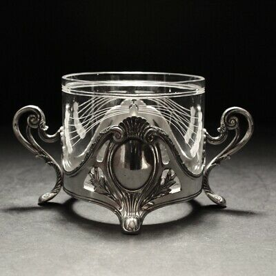 20th Century Art Nouveau WMF Silver Plated Sugar Bowl with Glass Liner C1910