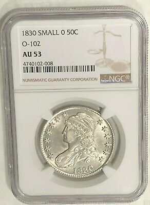 1830 Capped Bust Half Dollar O-102 R.3, Small O NGC AU53 : Sharp Luster & Detail