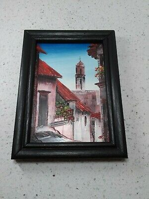 """Exceptional original vintage miniature oil painting,framed, signed """"Mexico City"""""""