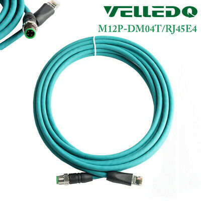 VELLEDQ Industrial Pre-Wired M12 4-Pin D-Coding Female Connector to RJ45 E4 Plug ETHERNET Cable 3M//10FT Shielded Line