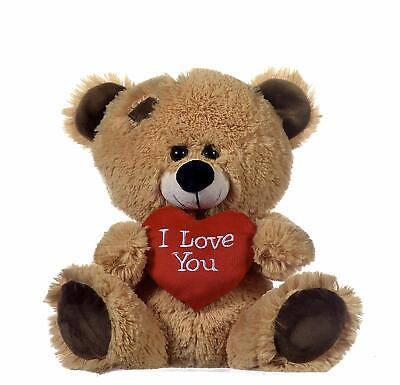 """Brown Teddy Bear Holding Red Heart With """"I Love You"""" Valentine's Day Gift 8"""""""