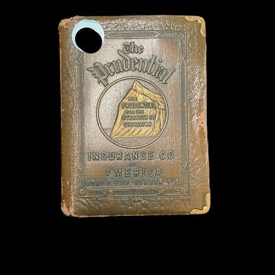 Vintage Prudential Insurance Co Leather Metal Book Coin Piggy Bank no key
