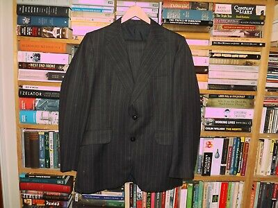 Vintage Tailor Mates Charcoal Grey Pintriped Suit 38 Chest 32 Waist Flared Leg