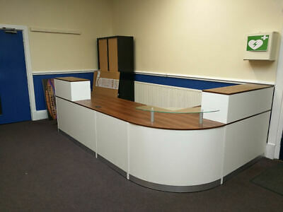 White And Walnut Reception Desk Curved Glass Unit Aluminium Plinth Large Desk