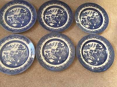 Churchill/Broadhurst Willow Plates(6) Blue&White Excellent