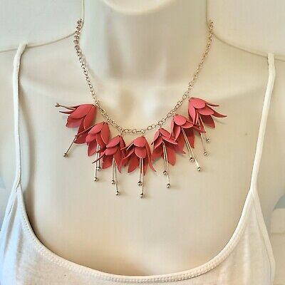 Ted Baker Pink Flower Necklace Fuchsia Rose Gold Tone Statement Piece Boxed