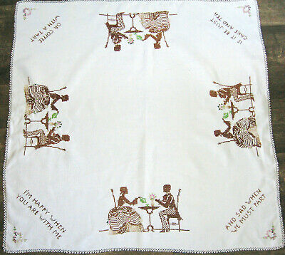 "Vtg Linen Table Topper Embroidered Colonial Couple, Tatted Edging, 36"" Square"