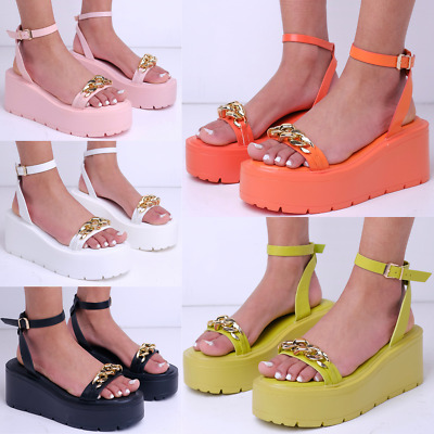 Womens Ladies Wedge Comfort Sandals Cushioned Wide Fit Open Toe Adjustable Shoe