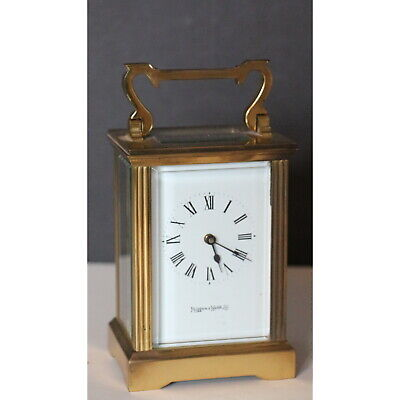 A C20th Brass Cased Mappin & Webb Carriage Clock with Enamel Dial