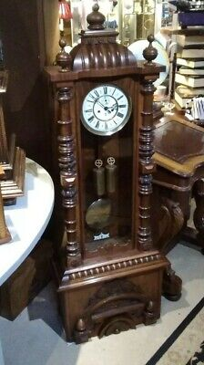 Antique granddaughter clock, Gustav Becker workings, weight movement, chimes