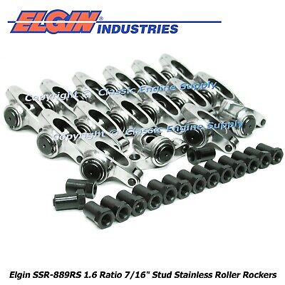Chevy SBC 350 1.50 7//16 Self Aligning Stainless Steel Roller Rocker Arm Set