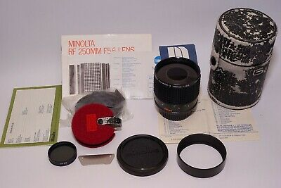 Minolta RF Rokkor-X 250mm f5.6 RF Lens, Hood, manual, case, 2 filters + tool