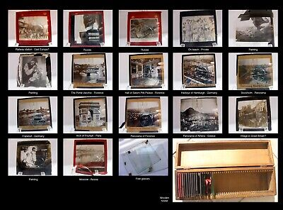 Original John L. Stoddard 17 Positive Photographic Plates In Wooden Holder