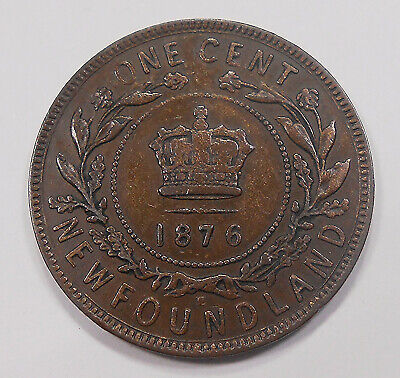 1876H Newfoundland Large Cent VF+ ** SCARCE Date Queen Victoria KEY Nfld. Penny