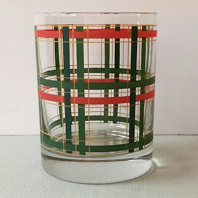 Georges Briard Tartan Plaid Double Old Fashioned Glass Christmas Red Green MCM