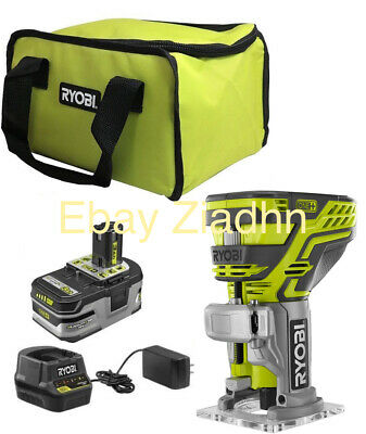 Ryobi 18V Cordless P601 Fixed Base Trim Router One+ Battery Charger Case Bundle