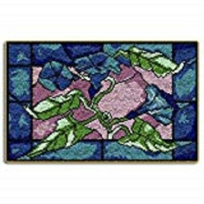 "Latch Hook Rug Kit""Abstract Blue and Purple Flowers""85x60cm"