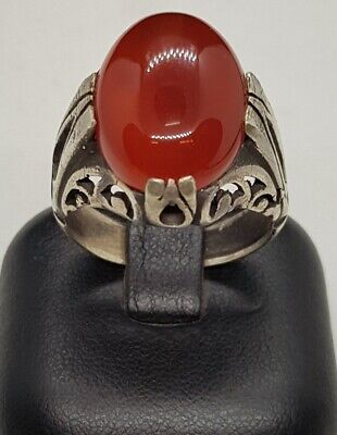 Soild Antique Silver Beautiful Old Ring With Ancient Yemani Natural  Agate Stone
