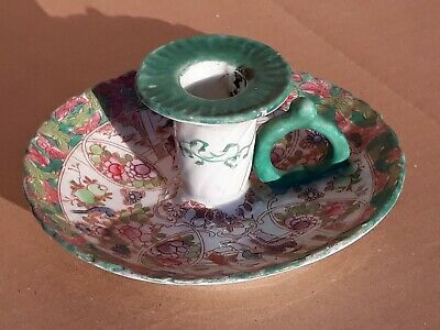 Antique CANTON Porcelain Famille Verte Painted Court Scenes Chamber Candlestick