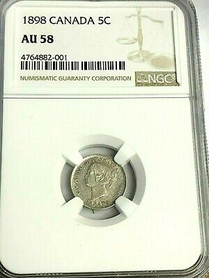 1898 Canada 5C Five Cents silver - Very Nice, Some Luster! NGC AU-58